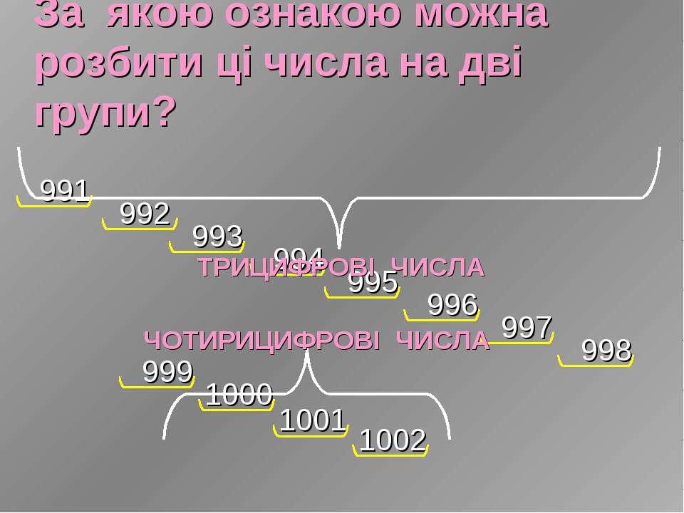 За якою ознакою можна розбити ці числа на дві групи?