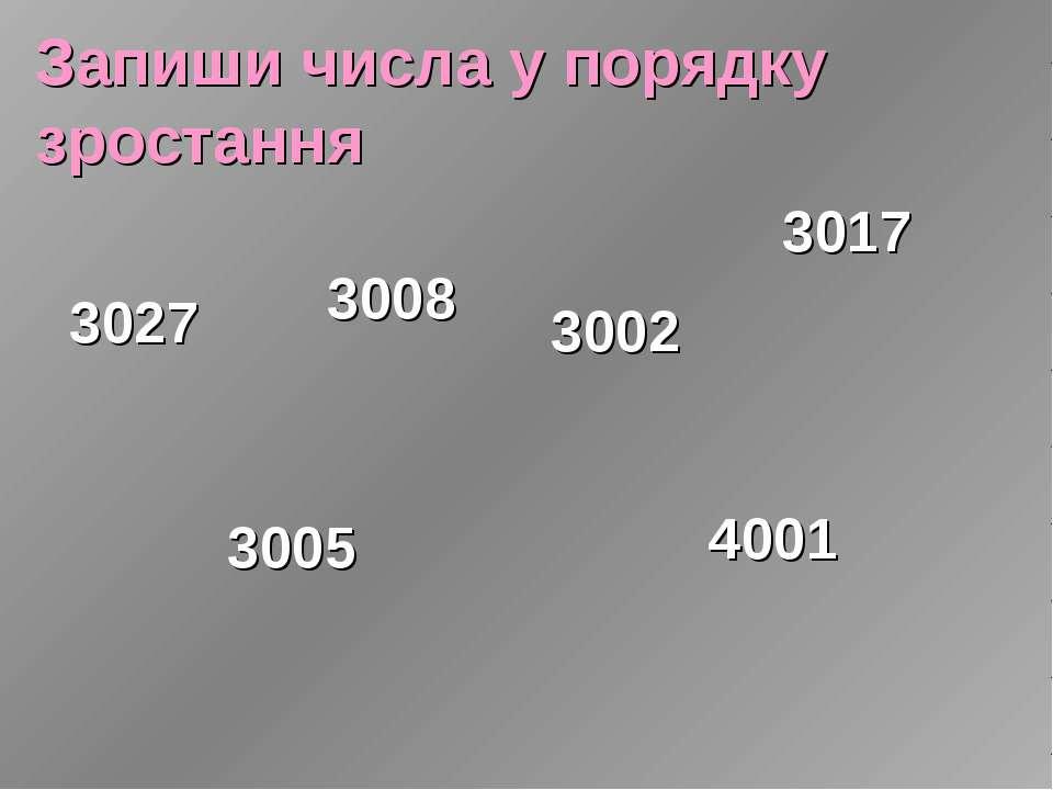 Запиши числа у порядку зростання 3027 3008 3005 3002 3017 4001
