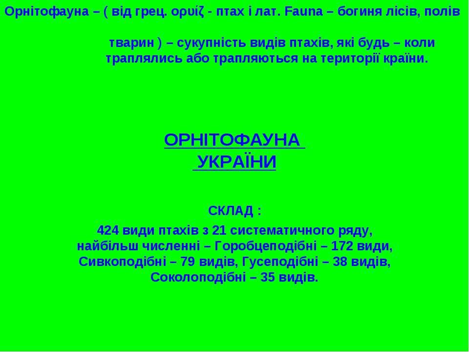 ОРНІТОФАУНА УКРАЇНИ Орнітофауна – ( від грец. ορυίζ - птах і лат. Fauna – бог...