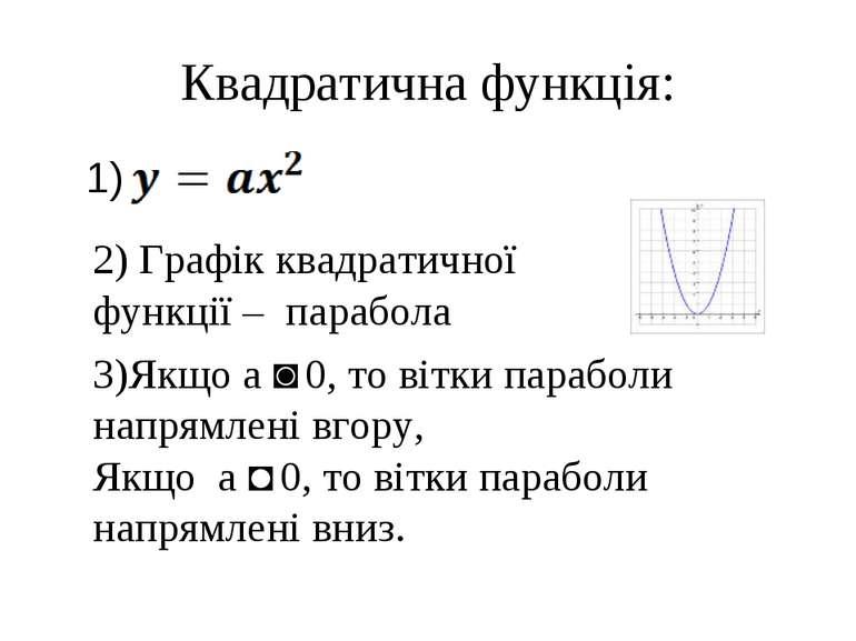 Квадратична функція: 1) 2) Графік квадратичної функції – парабола 3)Якщо а ˃ ...