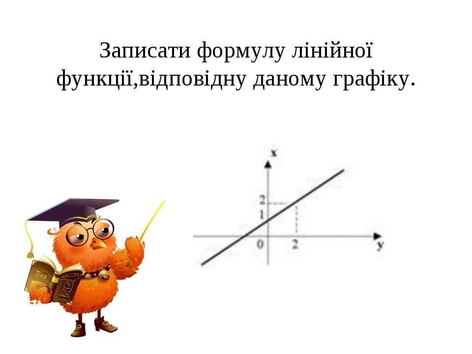 Записати формулу лінійної функції,відповідну даному графіку.