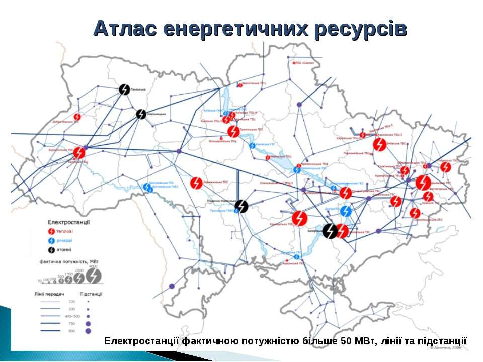 Атлас енергетичних ресурсів Електростанції фактичною потужністю більше 50 МВт...