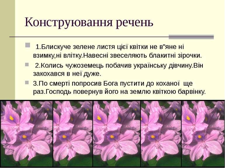 """Конструювання речень 1.Блискуче зелене листя цієї квітки не в""""яне ні взимку,н..."""