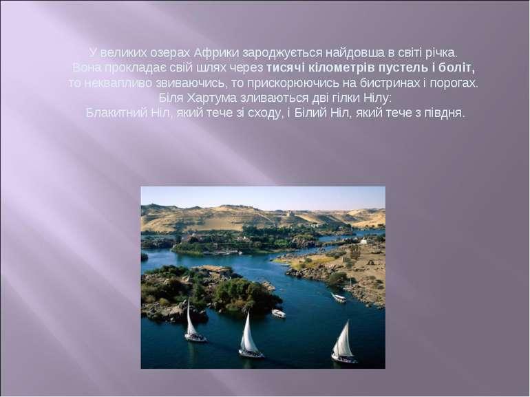 У великих озерах Африки зароджується найдовша в світі річка. Вона прокладає с...