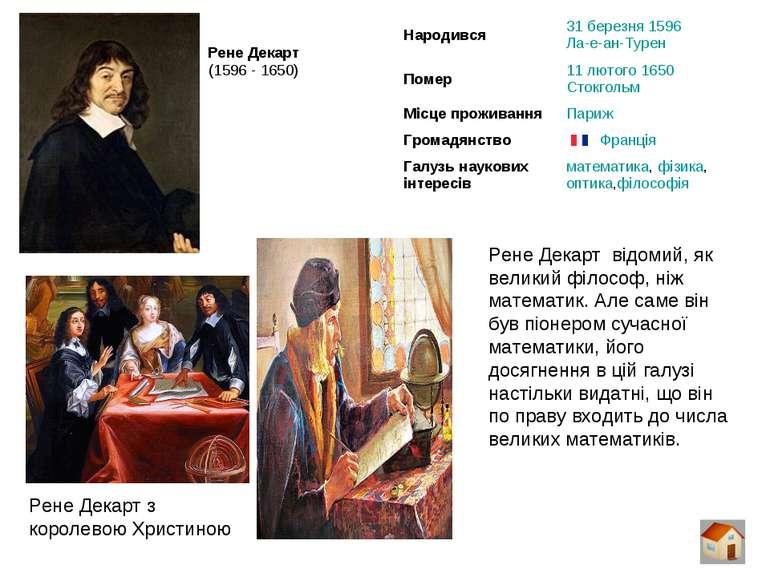 Рене Декарт (1596 - 1650) Рене Декарт відомий, як великий філософ, ніж матема...