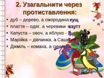 2. Узагальнити через протиставлення: дуб – дерево, а смородина - … плаття – о...