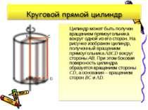 Цилиндр может быть получен вращением прямоугольника вокруг одной из его сторо...
