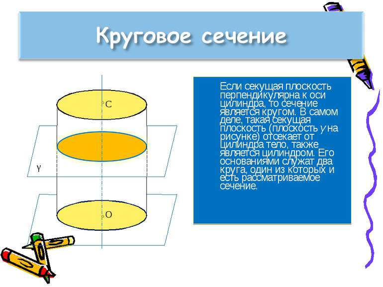 Если секущая плоскость перпендикулярна к оси цилиндра, то сечение является кр...