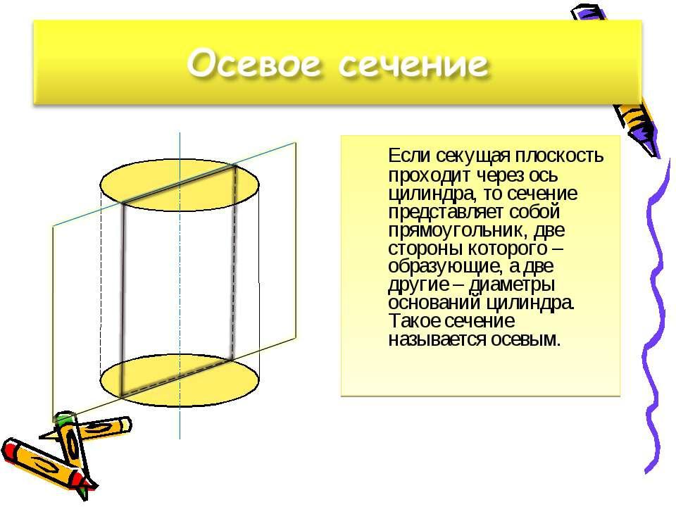 Если секущая плоскость проходит через ось цилиндра, то сечение представляет с...