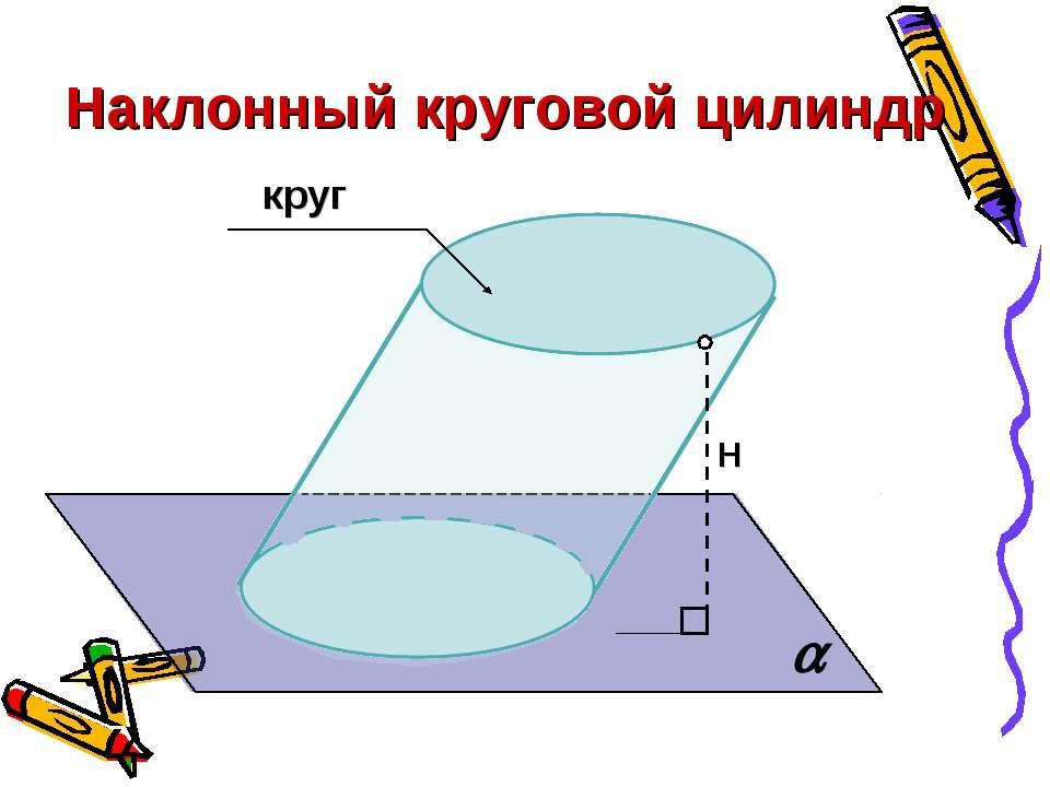 Наклонный круговой цилиндр Н круг