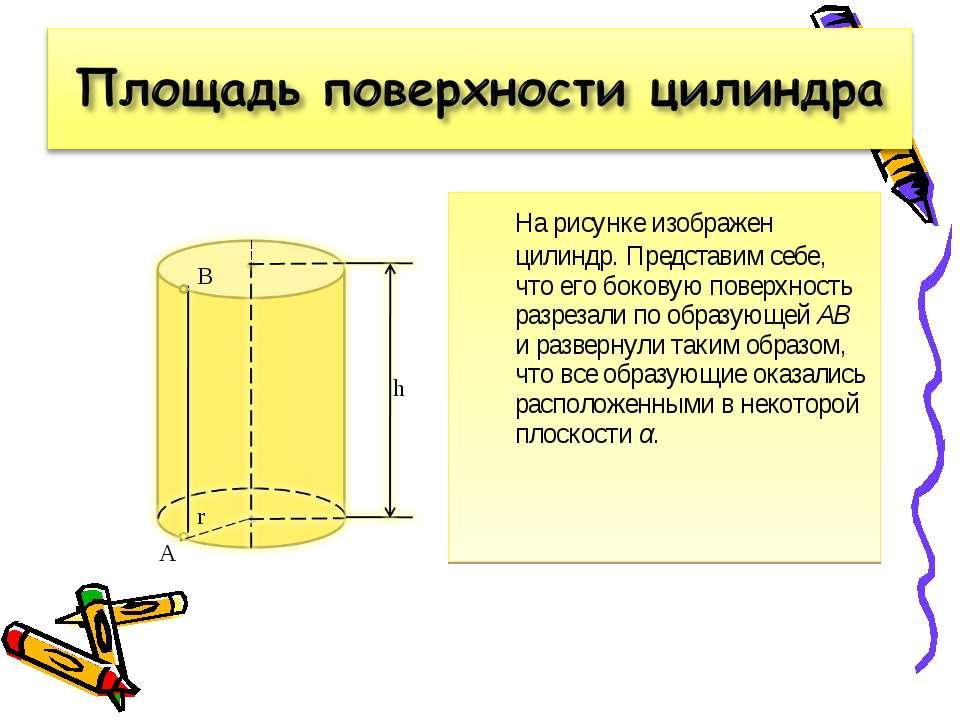 На рисунке изображен цилиндр. Представим себе, что его боковую поверхность ра...