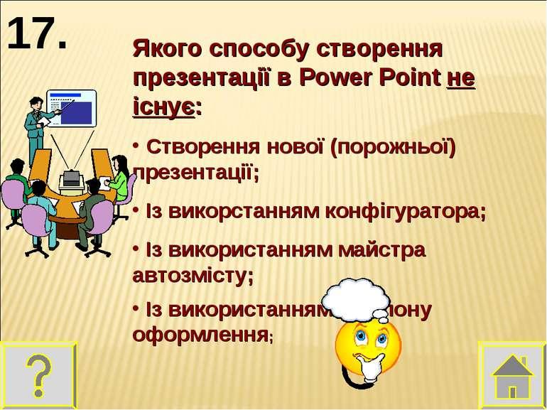 Якого способу створення презентації в Power Point не існує: Створення нової (...