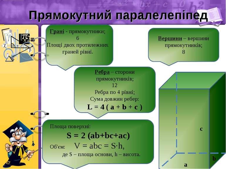 Прямокутний паралелепіпед a b c Грані - прямокутники; 6 Площі двох протилежни...