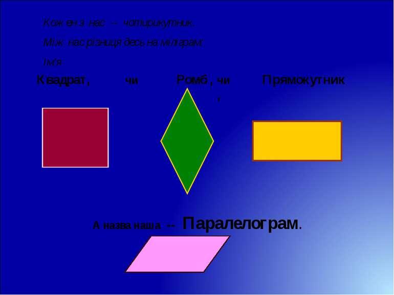 Кожен з нас -- чотирикутник. Між нас різниця десь на міліграм: Ім'я Квадрат, ...