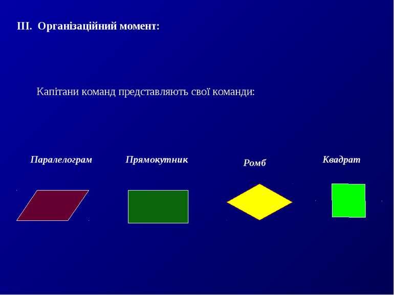 ІІІ. Організаційний момент: Капітани команд представляють свої команди: Парал...