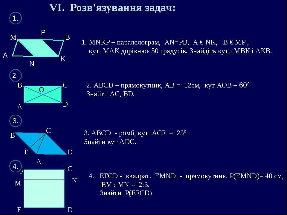 VI. Розв'язування задач: А M P K N B 1. MNKP – паралелограм, АN=РВ, А € NK, В...
