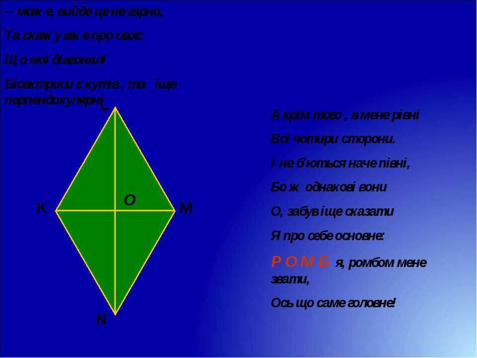 -- може, вийде це не гарно, Та скажу вже про своє: Що мої діагоналі Бісектрис...