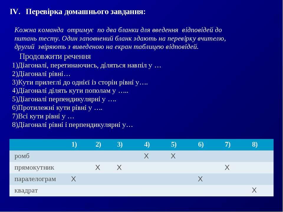 Перевірка домашнього завдання: Продовжити речення Діагоналі, перетинаючись, д...