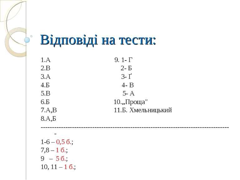 """Відповіді на тести: 1.А 9. 1- Г 2.В 2- Б 3.А 3- Ґ 4.Б 4- В 5.В 5- А 6.Б 10.""""П..."""