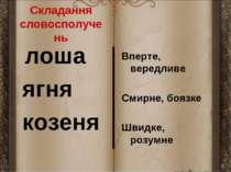 Складання словосполучень лоша ягня козеня Вперте, вередливе Смирне, боязке Шв...