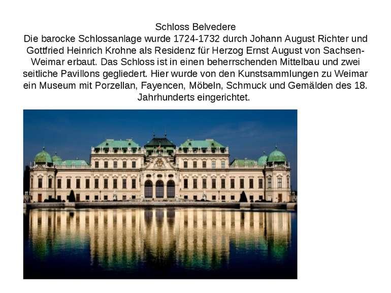 Schloss Belvedere Die barocke Schlossanlage wurde 1724-1732 durch Johann Augu...