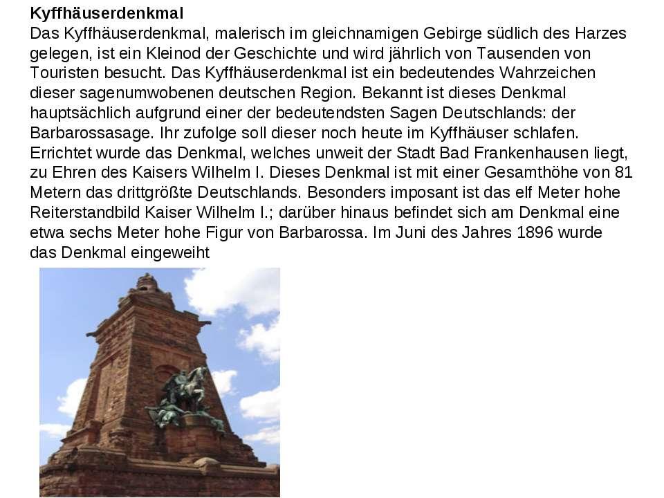Kyffhäuserdenkmal Das Kyffhäuserdenkmal, malerisch im gleichnamigen Gebirge s...