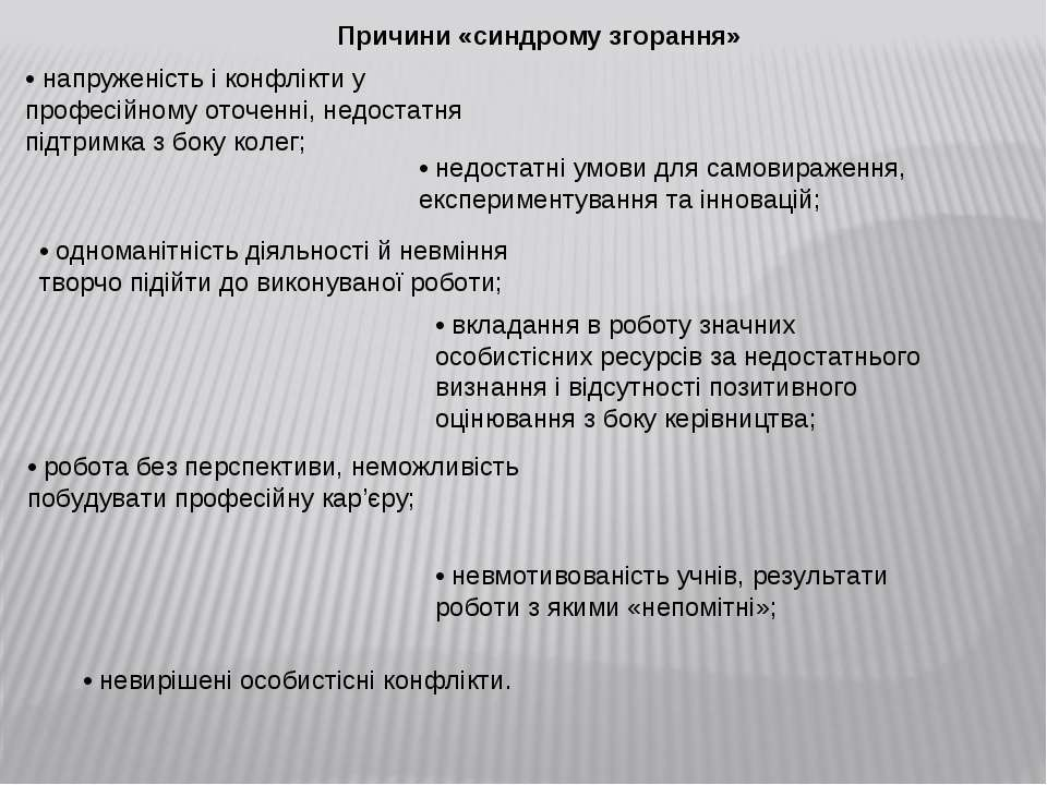 Причини «синдрому згорання» • напруженість і конфлікти у професійному оточенн...