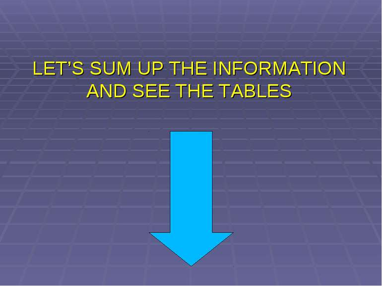 LET'S SUM UP THE INFORMATION AND SEE THE TABLES