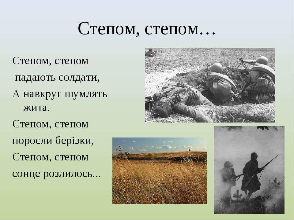 Степом, степом… Степом, степом падають солдати, А навкруг шумлять жита. Степо...