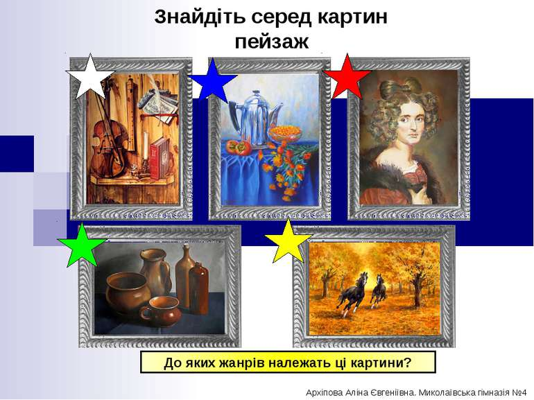 До яких жанрів належать ці картини? Знайдіть серед картин пейзаж Архіпова Алі...