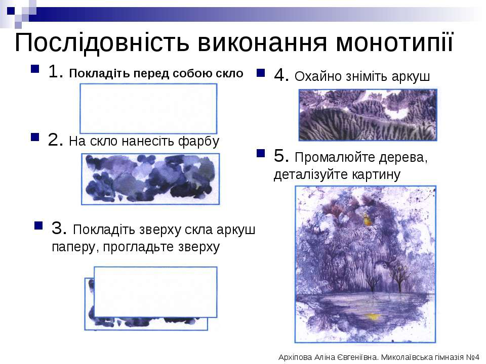 Послідовність виконання монотипії 4. Охайно зніміть аркуш 5. Промалюйте дерев...