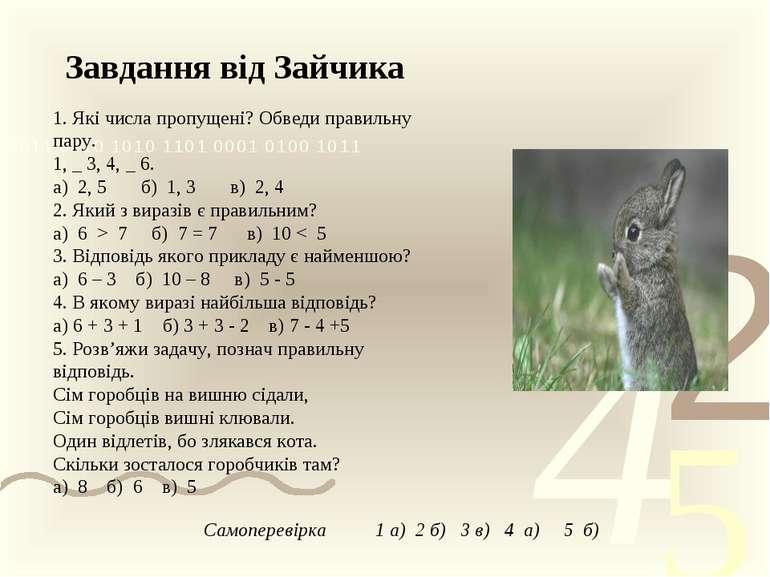 Завдання від Зайчика 1. Які числа пропущені? Обведи правильну пару. 1, _ 3, 4...