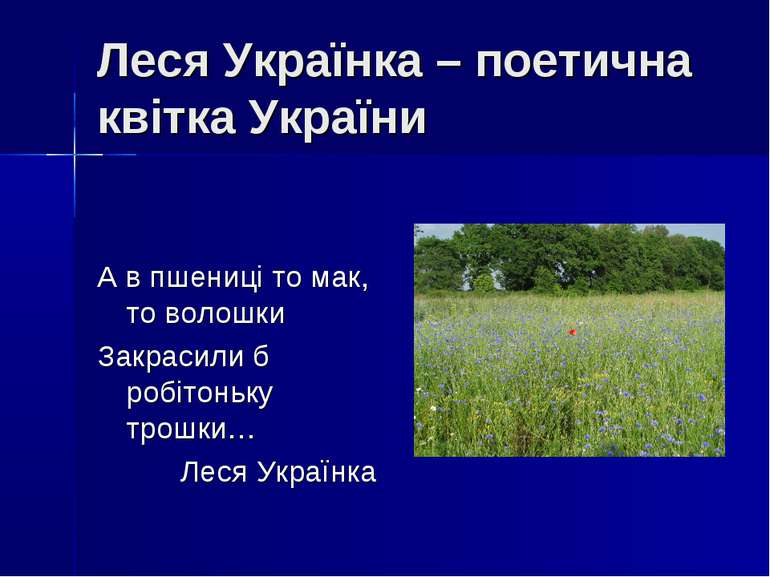 Леся Українка – поетична квітка України А в пшениці то мак, то волошки Закрас...