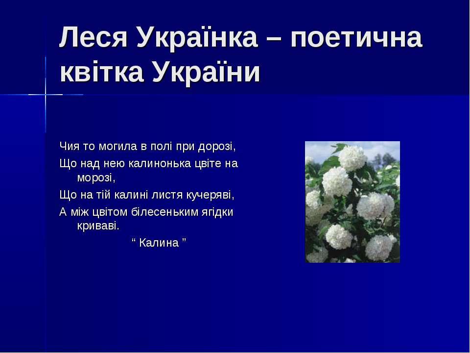 Леся Українка – поетична квітка України Чия то могила в полі при дорозі, Що н...