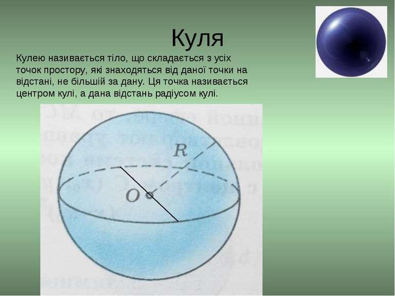 Куля Кулею називається тіло, що складається з усіх точок простору, які знаход...