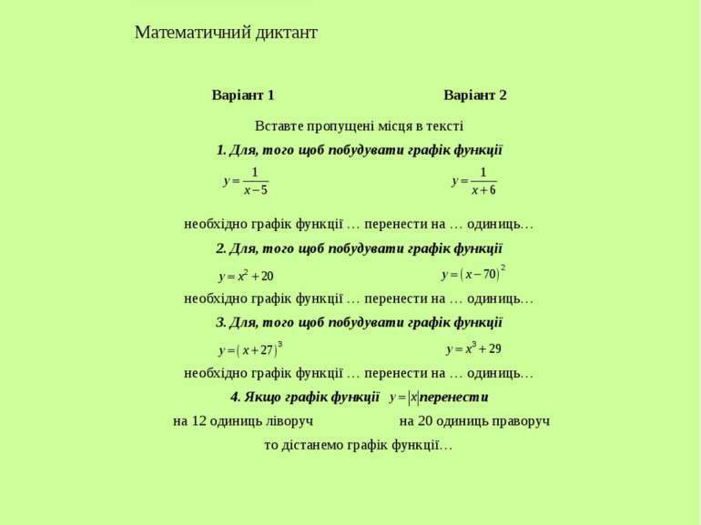 Тема. Графік функції Математичний диктант Варіант 1 Варіант 2 Вставте пропуще...