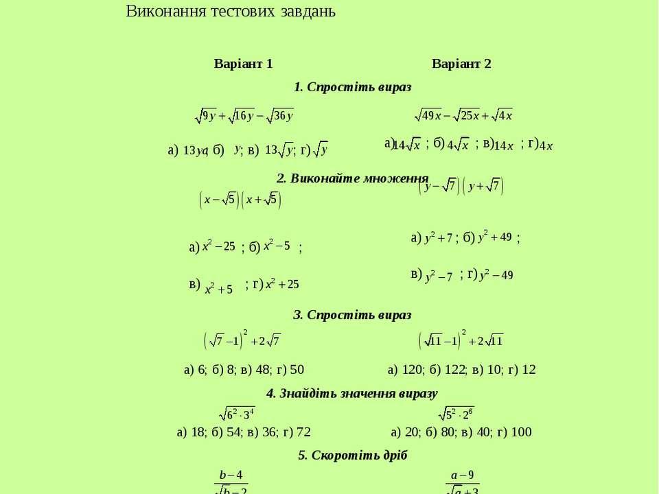 Тема. Спрощення виразів, що містять корені Виконання тестових завдань Варіант...