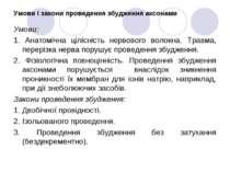 Умови і закони проведення збудження аксонами Умови: 1. Анатомічна цілісність ...