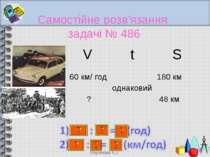 Самостійне розв'язання задачі № 486 * Вороніна Є.І V t S 60 км/ год ? однаков...