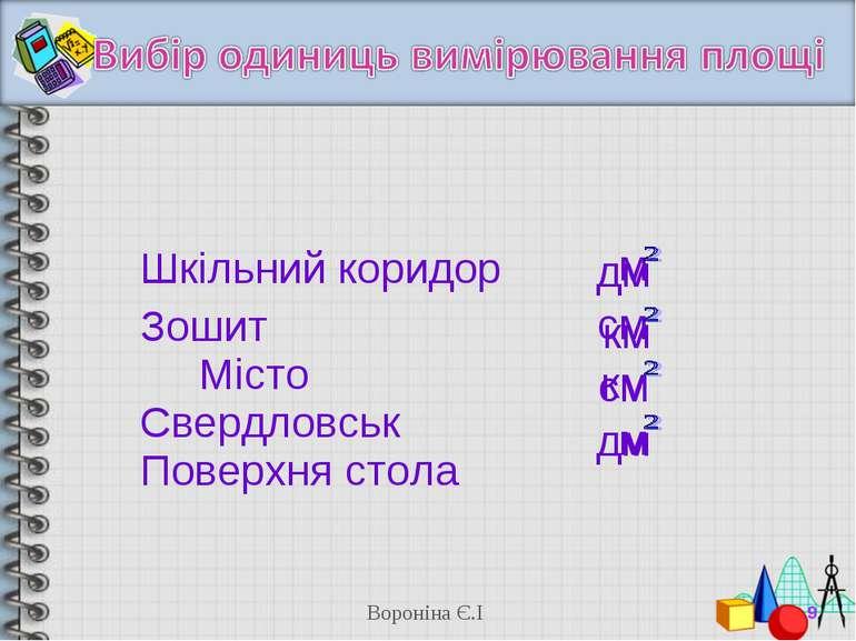 м см км дм км см м дм * Вороніна Є.І Шкільний коридор Зошит Місто Свердловськ...