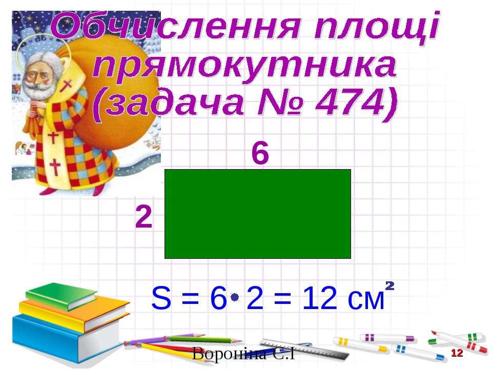6 2 S = 6 2 = 12 см * Вороніна Є.І Вороніна Є.І