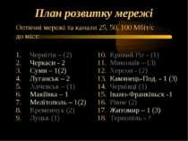 План розвитку мережі Чернігів – (2) Черкаси - 2 Суми – 1(2) Луганськ – 2 Алче...