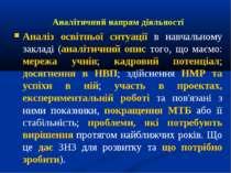Аналітичний напрям діяльності Аналіз освітньої ситуації в навчальному закладі...