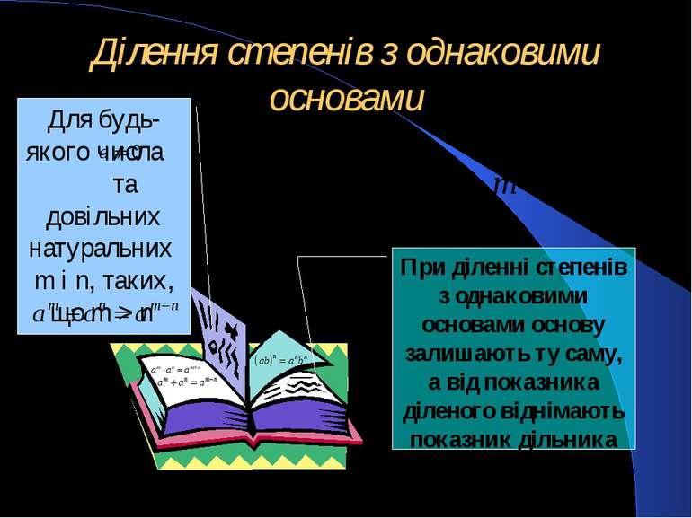 Ділення степенів з однаковими основами Для будь-якого числа та довільних нату...