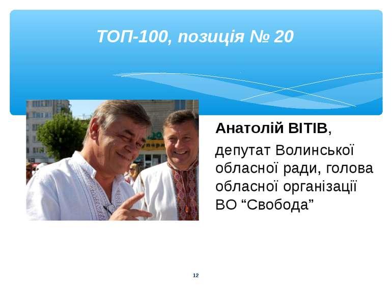 * ТОП-100, позиція № 20 Анатолій ВІТІВ, депутат Волинської обласної ради, гол...