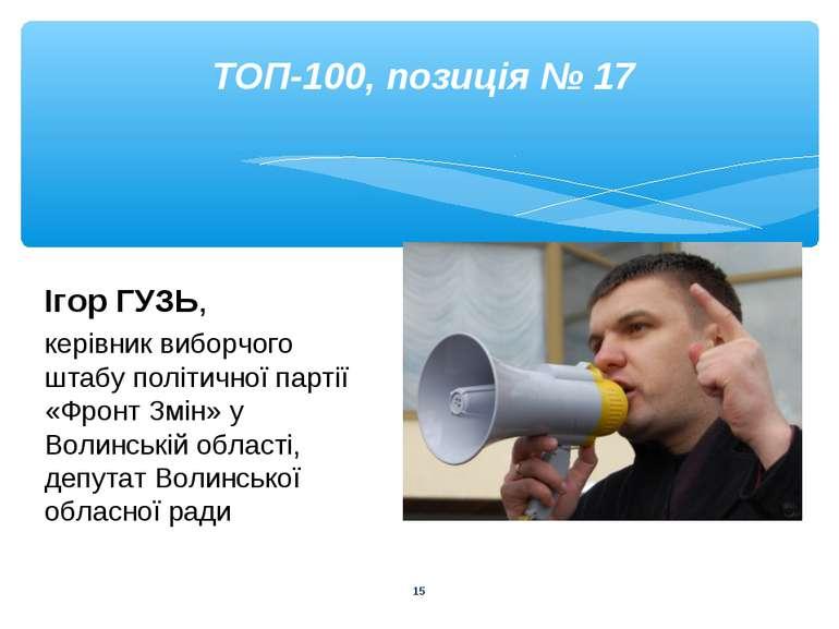 * ТОП-100, позиція № 17 Ігор ГУЗЬ, керівник виборчого штабу політичної партії...