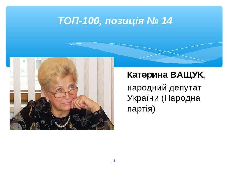 * ТОП-100, позиція № 14 Катерина ВАЩУК, народний депутат України (Народна пар...