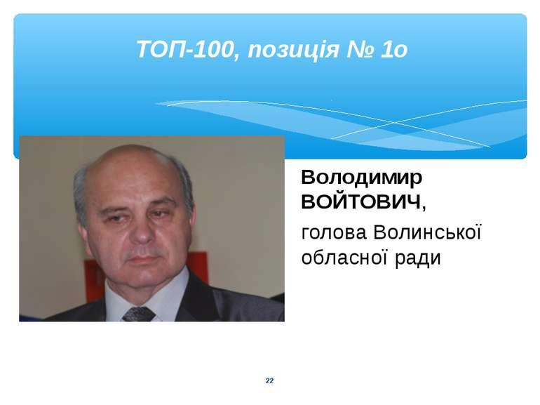 * ТОП-100, позиція № 1о Володимир ВОЙТОВИЧ, голова Волинської обласної ради