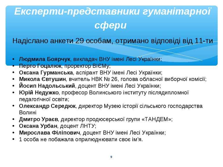 * Експерти-представники гуманітарної сфери Надіслано анкети 29 особам, отрима...