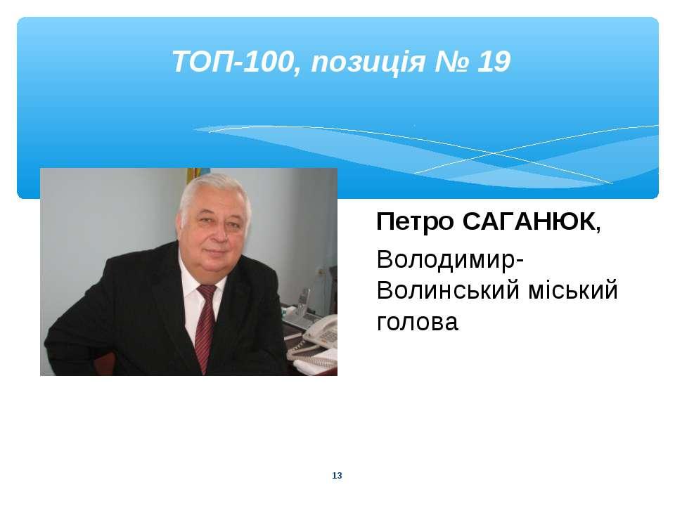 * ТОП-100, позиція № 19 Петро САГАНЮК, Володимир-Волинський міський голова